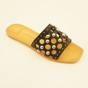 Dolce Vita Studded Slide Sandals 8 Black Leather